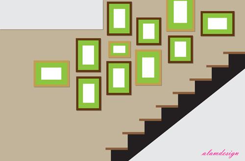 Langkah Seni Susunan Gambar di Dinding