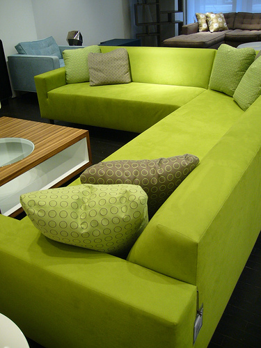 Green L shape sofa