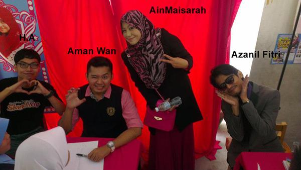 Saya bersama para penulis dari kiri Aman Wan, AinMaisarah dan Azanil Fitri.