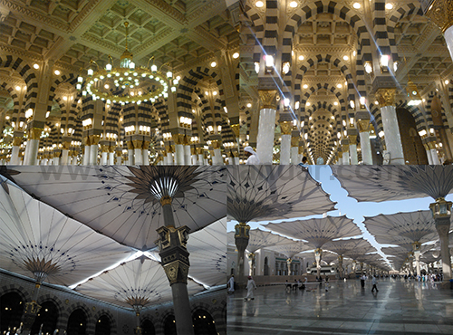 Masjid Nabawi luar dan dalam.