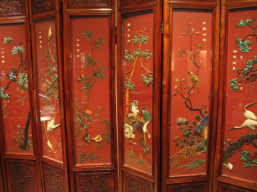 Panel kayu berukiran lukisan cina