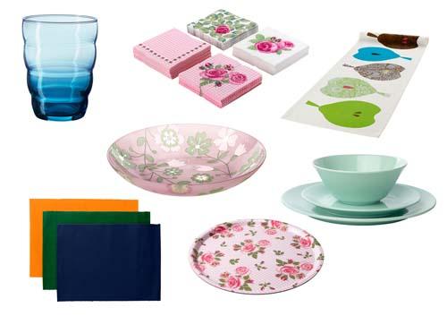 Kelengkapan dan aksesori bewarna meja makan IKEA