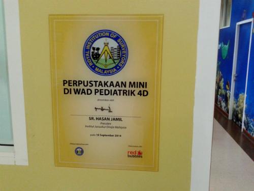 Perpustakaan mini di wad pediatrik 4D dirasmikan oleh Sr Hasan Jamil_Presiden RISM