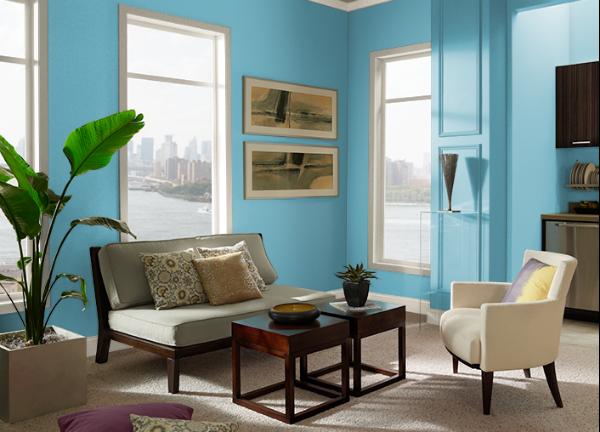 Warna Ruang Tamu Sonic Blue Behr