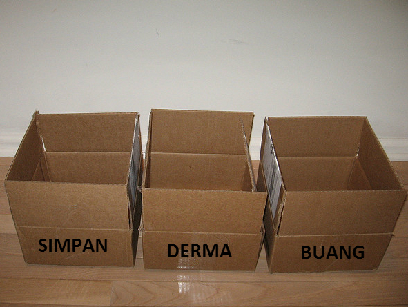 Tiga kotak kosong. Untuk Simpan, derma dan buang